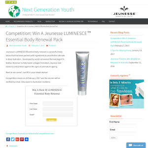 Win a Jeunesse Luminesce Essential Body Renewal Pack