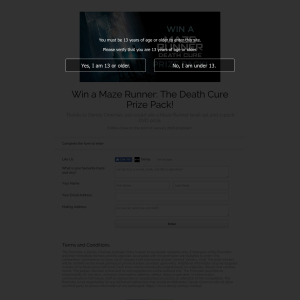 Win a Maze Runner: The Death Cure pack