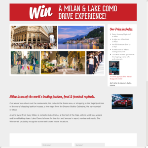 Win a Milan and Lake Como Drive experience