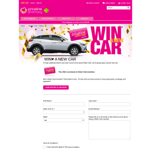 Win a new car! (Priceline Sister Club Members ONLY)