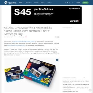Win a Nintendo NES Classic Edition, extra controller + retro messenger bag!