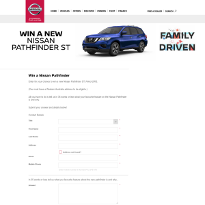 Win a Nissan Pathfinder