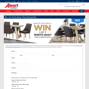 Win a North Quay seven piece dining suite