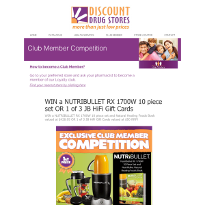 WIN a NUTRIBULLET RX 1700W 10 piece set and Natural Healing Foods Book valued at $428.95 OR 1 of 3 JB HiFi Gift Cards valued at $50 RRP!