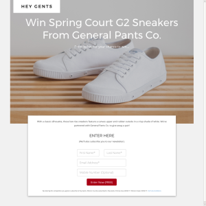 Win a Pair of Mens White Canvas Sneakers