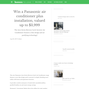 Win a Panasonic air conditioner plus installation