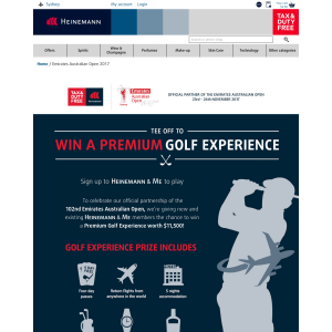 Win a premium golf experience! (Registration & Interaction at Sydney International Airport Required)