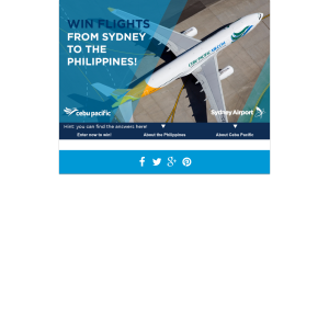 Win a return economy class airfare from Sydney to Manila with Cebu Pacific!
