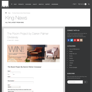 Win a Seymour Armchair in 'Kong Hazel, valued at $2,127 OR a King Boulevard Armchair in 'Sylvana Heather', valued at $2,677!