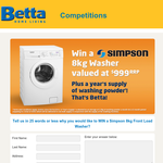 Win a Simpson Washer Valued at $999 with a Year's Supply of Washing Powder