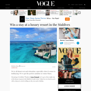Win a stay at a luxury resort in the Maldives!