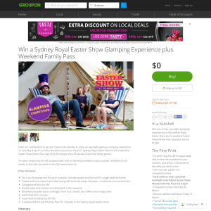 Win a 'Sydney Royal Easter Show' glamping experience + weekend family pass! (Flights NOT Included)