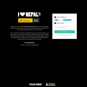 Win a tour for 2 of Nepal!