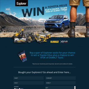 Win a Toyota Hilux + the chance to win $10K of DeWault Tools! (Purchase Required)