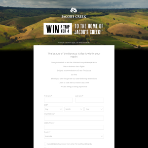 Win a Trip for 4 to the Home of Jacob's Creek