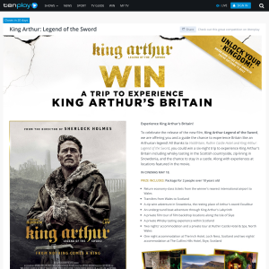 Win a trip to experience King Arthur's Britain!