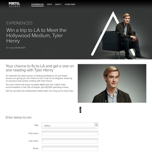 Win a trip to LA to meet the Hollywood Medium, Tyler Henry!