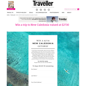 Win A Trip To New Caledonia
