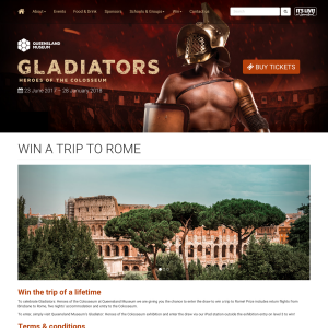 Win a trip to Rome, visit Gladiators exhibition