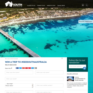 Win a trip to #SEESOUTHAUSTRALIA worth $10,000! (Excludes ACT & NT Residents)