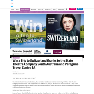 Win a Trip to Switzerland thanks to the State Theatre Company South Australia