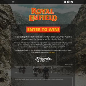 Win a trip to the Himalayas with Royal Enfield & Nevermind Adventure!