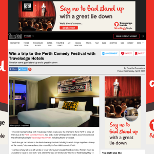 Win a trip to the Perth Comedy Festival with Travelodge Hotels!