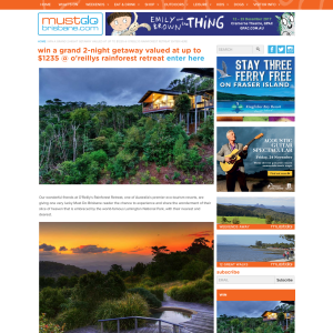 Win a two-night stay @O'Reilly's Rainforest retreat