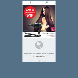 Win A Vidal Sassoon Dryer & Straightener Pack