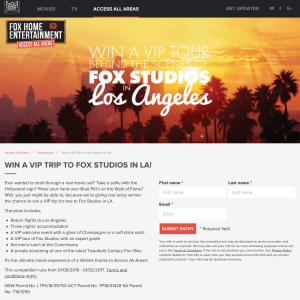 Win a VIP tour behind the scenes of Fox Studios in Los Angeles!