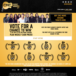 Win a VIP trip to the CMC Music Awards + weekly cash prizes!