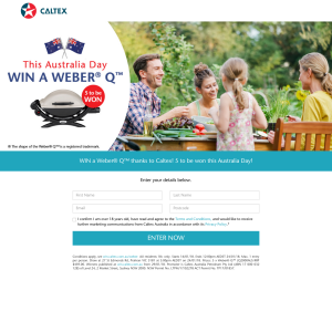 Win a Weber® Q™ thanks to Caltex