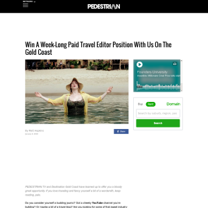 Win A Week-Long Paid Travel Editor Position With Us On The Gold Coast