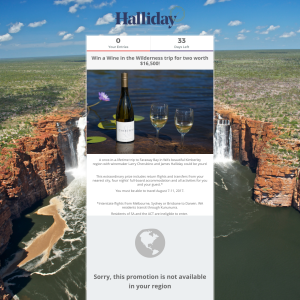 Win a wine wilderness trip for 2 worth $16,500! (Excludes SA & ACT Residents)