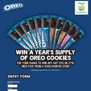 Win a year's supply of OREO cookies! (Purchase Required)