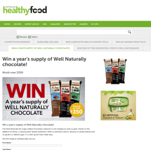 Win a year's supply of 'Well Naturally' chocolate!