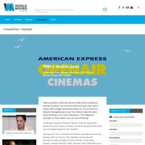 Win American Express OpenAir cinemas double passes
