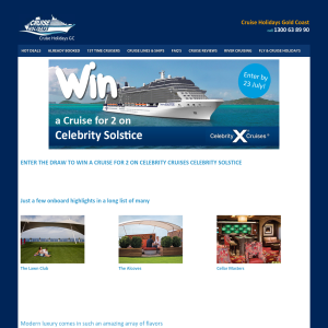 Win an 8N Cruise On Board Celebrity Solstice for 2