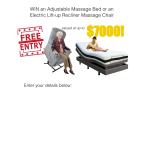 Win an Adjustable Massage Bed or an Electric Lift-up Recliner Massage Chair