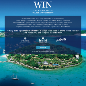 Win an all-inclusive trip for 2 to Iririki Island Resort & Spa Vanuatu! (Purchase Required)