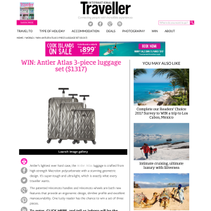 Win an Antler 'Atlas' 3-piece luggage set, valued at $1,317!