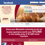 Win an Aussie experience worth over $15,000 or the weekly prize of $1,000 travel vouchers!