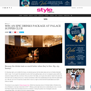 Win An Epic Drinks Package at Palace Supper Club