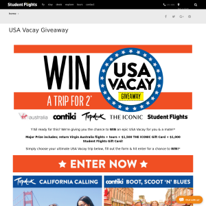 Win an epic USA Vacay for you & a mate