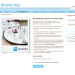 Win dinner with Donna Hay in her studio!