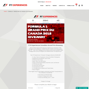 Win F1 Experiences' Champion Ticket Packages to the Formula 1 Grand Prix Du Canada 2018