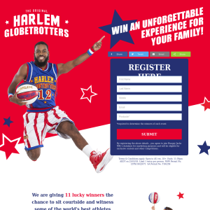 Win four tickets to a Harlem Globetrotters game in your city