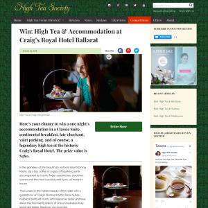 Win High Tea & Accommodation at Craig's Royal Hotel Ballarat