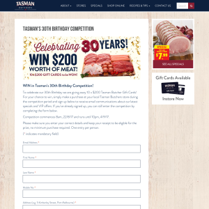 Win in Tasman's 30th Birthday Competition