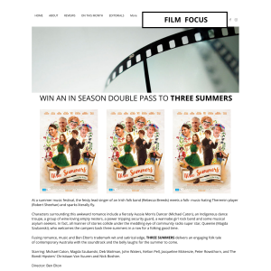 Win one of five Three Summers double passes